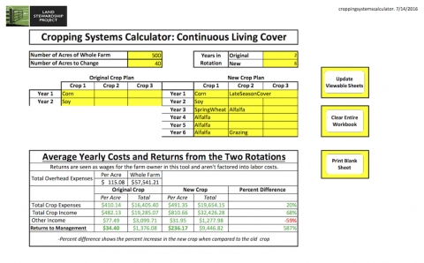 Cropping systems calculator land stewardship project.
